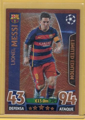 MESSI Edición Limitada BRONCE TOPPS Match Attack Champions League 2016